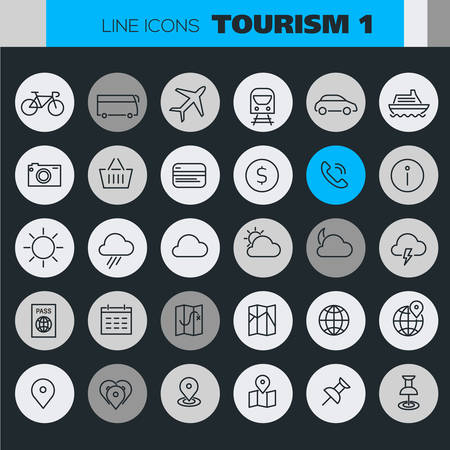 Trendy line icons - Tourism icons collection on colored round buttons, set 1