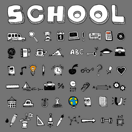 School and educational icons on gray background Illustration