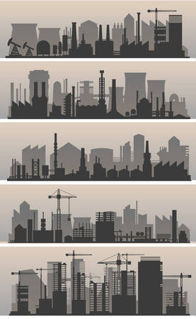 Vector horizontal banners with industrial part of city. Factories, refineries and power plants Illusztráció