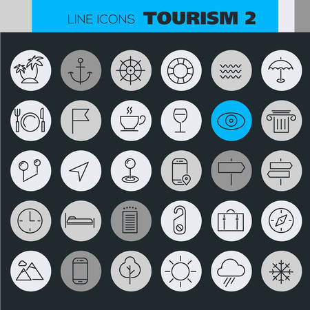 Trendy line icons - Tourism icons collection on colored round buttons. Illustration