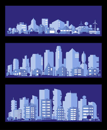 Paper material style ecological city, two banners