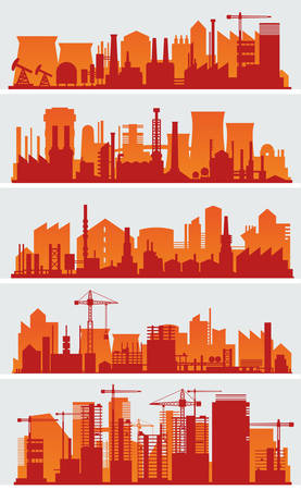 Vector horizontal banners with industrial part of city. Factories, refineries and power plants Illustration