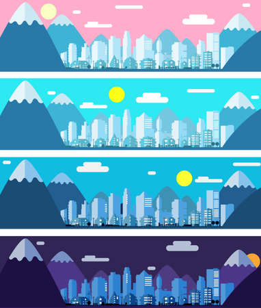Three banners with paper material style city landscape in the morning, day and night Stock Photo