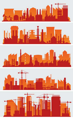 Vector horizontal banners with industrial part of city. Factories, refineries and power plants Stock Photo