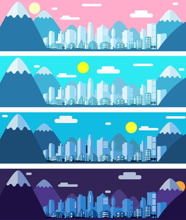 Three banners with paper material style city landscape in the morning, day and night Illustration