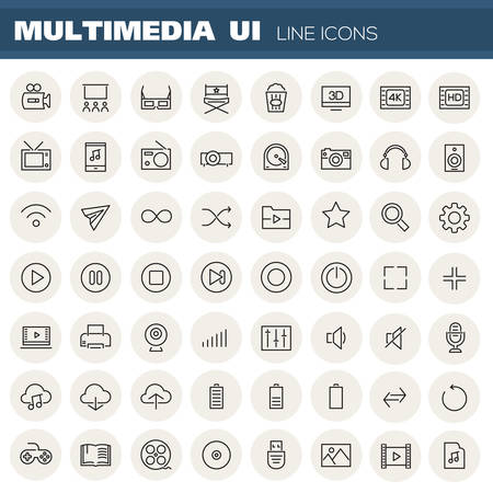 Big multimedia linear icons collection on grey round buttons Illustration