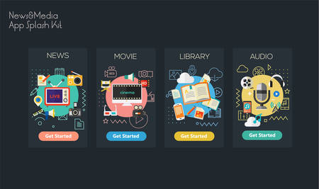 Flat design responsive Multimedia Sources UI mobile app splash screens template with trendy illustrations