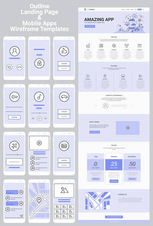 One Page Website and Mobile Apps Wireframe Kit Vectores