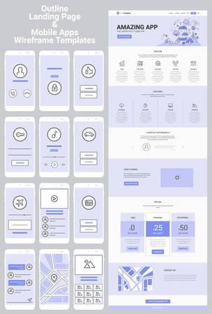 Kit Wireframe per siti Web e app mobili di una pagina