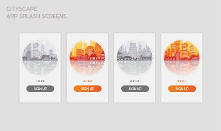 Flat design responsive UI mobile app splash screens template with trendy city landscape illustrations Ilustracje wektorowe