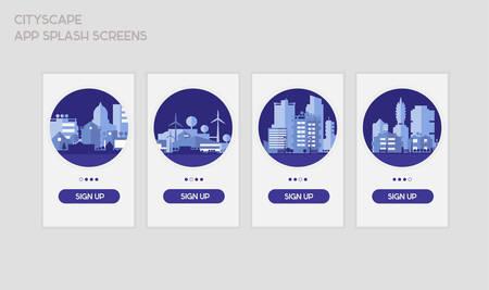 Flat design responsive UI mobile app splash screens template with trendy city landscape illustrations