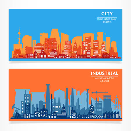 Vector horizontal banners skyline Kit with various parts of city - factories, refineries, power plants and big city districts. Illustration divided on layers for create parallax effect