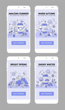 Weather and seasonal conceptual line banner and splash screen illustration for mobile apps. Spring, Summer, Autumn, Winter. Line design vector illustration online web banner