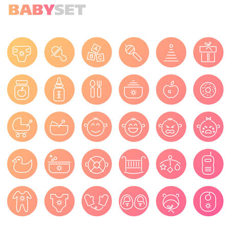 Trendy line icons - Baby Staff icons collection, on dark background Illustration