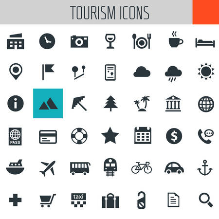 Vector big set of trendy icons of travel and tourism metaphors