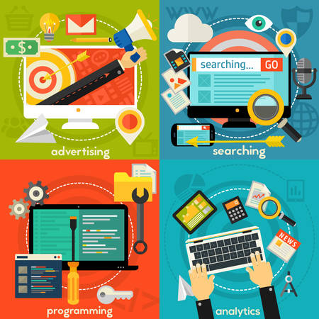 Programming and coding, scripting and website development, analytics and SEO concepts. Horizontal banners