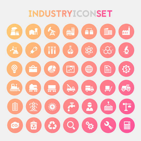 Trendy flat design big Industry icons set