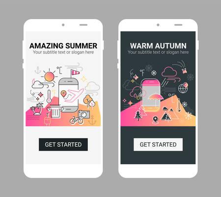 Weather line illustration splash app screen mobile mockup Vektorové ilustrace