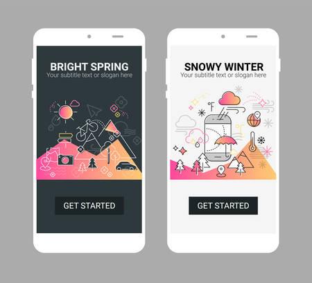 Weather line illustration splash app screen mobile mockup