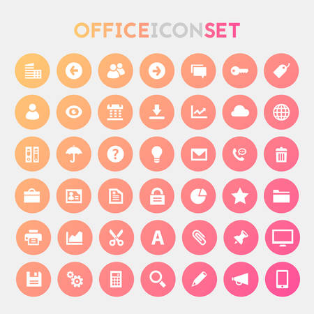Trendy flat design big UI, UX and Office icons set
