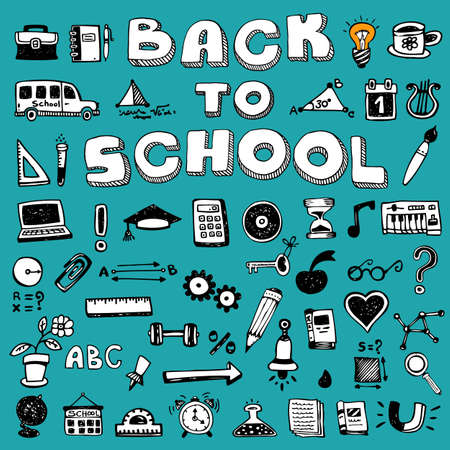 Back to School Concept Banner, Doodle style Stock Photo - 124893438