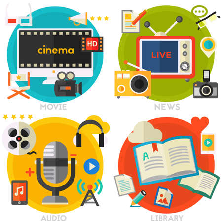 Flat concept banners. Audio, online library, video and news Stockfoto