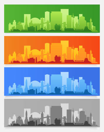 Cityscape sets with various parts of a city. Small towns or suburbs and downtown silhouettes