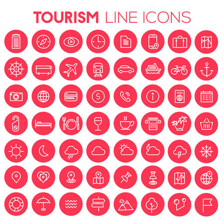 Trendy big tourism and travel icons collection 向量圖像