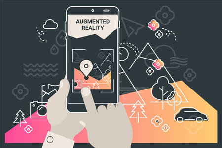 Augmented reality mobile app concept, for travelling navigation and outdoor activity, mobile geolocation and augmented reality content