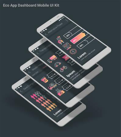 Flat design Management and Administration Dashbord Eco New Energy inforgraphics UI mobile app template on light background, with 3d smartphone mockups and infographics charts kit