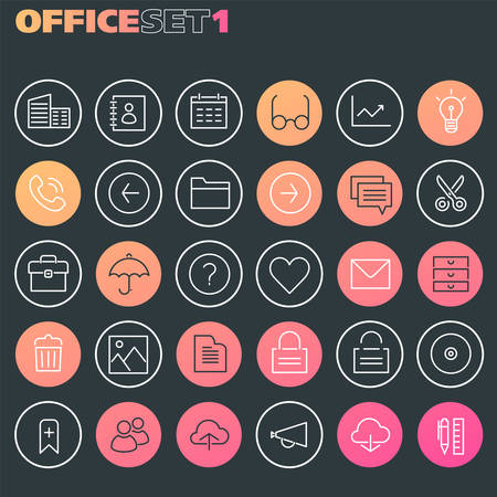 Trendy line icons - Office icons collection, set 1