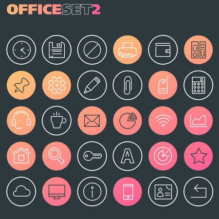 Inline Office Icons Collection, trendy line icons collection Banque d'images - 124893491