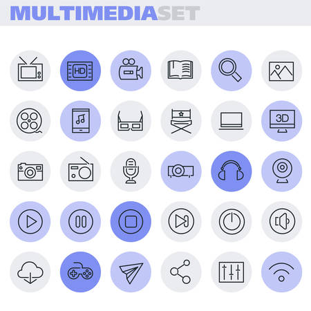 Multimedia linear icons collection, trendy linear icons 일러스트