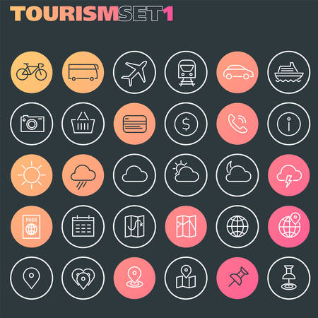 Trendy line icons - Tourism icons collection, set 1