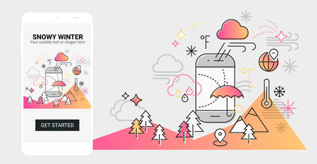 Weather and seasonal conceptual line banner and splash screen illustration for mobile apps. Spring. Line design vector illustration online web banner Фото со стока - 127288174