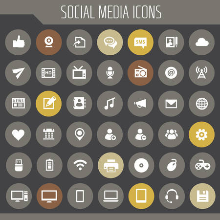 Big Social Media icon set, trendy line icons collection Banque d'images - 124893497