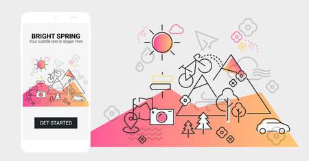 Weather and seasonal conceptual line banner and splash screen illustration for mobile apps. Spring. Line design vector illustration online web banner