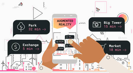 Augmented reality mobile app concept, for travelling navigation and outdoor activity, mobile geolocation and augmented reality content Фото со стока - 127144722