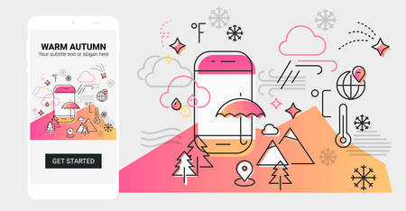 Weather and seasonal conceptual line banner and splash screen illustration for mobile apps. Spring. Line design vector illustration online web banner Фото со стока - 127144724