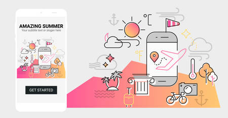 Weather and seasonal conceptual line banner and splash screen illustration for mobile apps. Spring. Line design vector illustration online web banner Фото со стока - 127144725