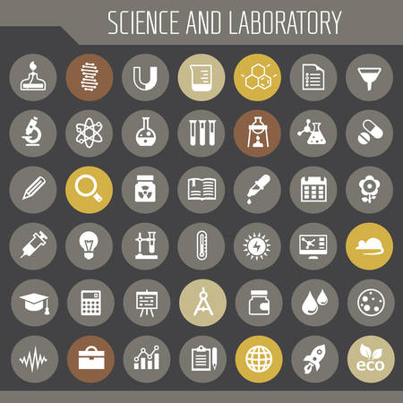 Trendy flat design Science and Laboratory icons collection Фото со стока - 127144727