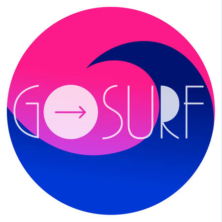 GO SURF. Surfing vector illustration with a wave and place for your text Иллюстрация