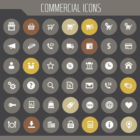Trendy flat design big commercial icons set Иллюстрация