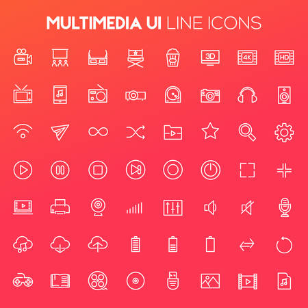 Big Multimedia icon set, trendy linear icons