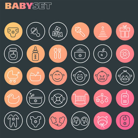 Trendy line icons - Baby Staff icons collection, on dark background Фото со стока - 126954111