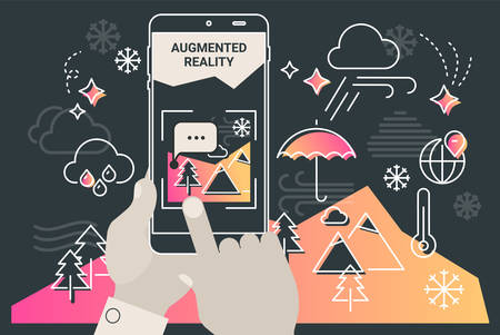 Augmented reality mobile app concept, for travelling navigation and outdoor activity, mobile geolocation and augmented reality content Фото со стока - 126954114