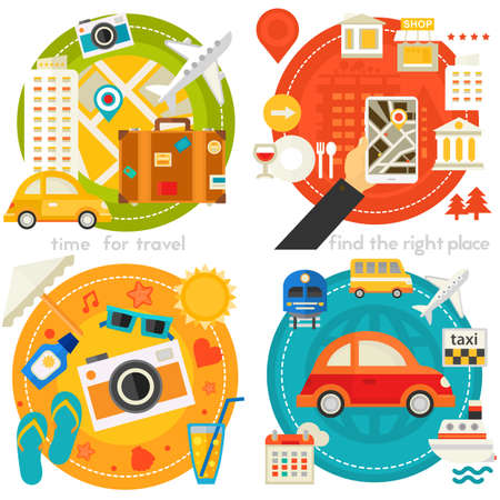 Time For Travel Concept Illustrations, trendy flat banners