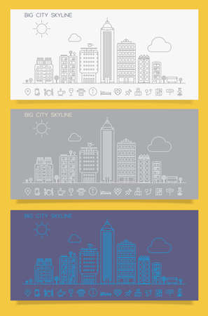 Linear trendy cityscape skyline with various parts of a city Stock Photo