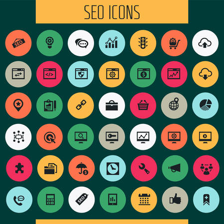 Trendy flat design big SEO icons set Фото со стока - 126779178