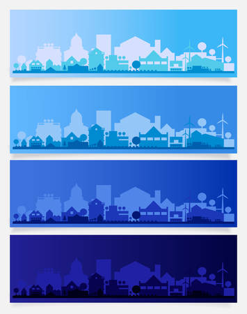 Cityscape sets with various parts of a city. Small towns or suburbs and downtown silhouettes Фото со стока - 126779180